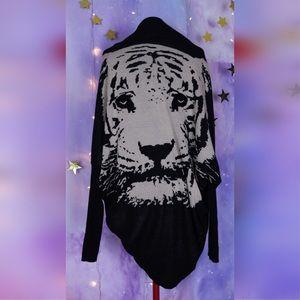 Black tiger cardigan and sparkly black sequin eyes
